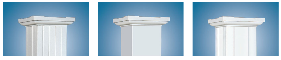 three square column profiles, from left to right, fluted, smooth, and panel.