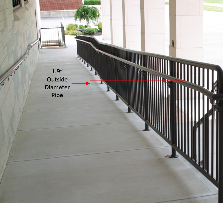 Detail of the code-compliant width of typical pipe handrail