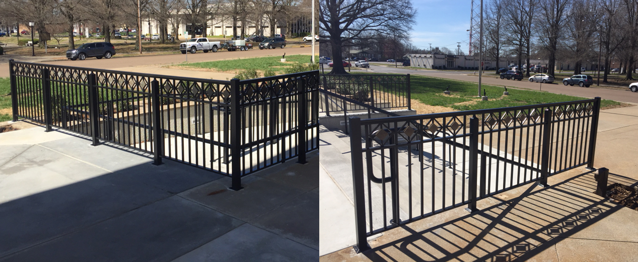 Completed aluminum railing with specialty insert in Paducah, Kentucky