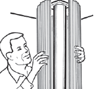 Sketch of a man wrapping a column around an existing support